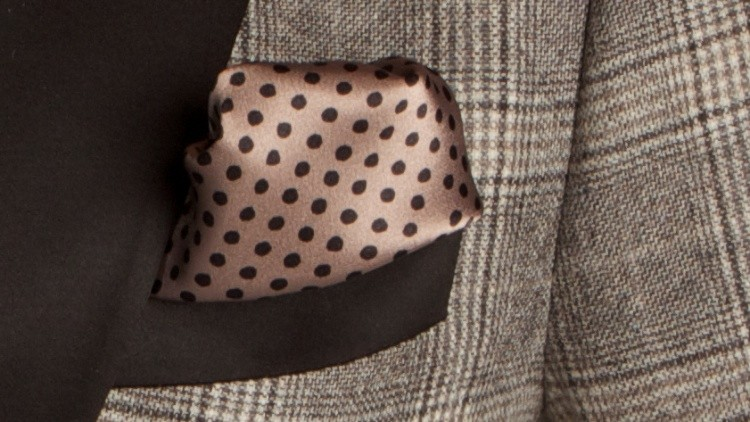 Brown Polka Dot Silk