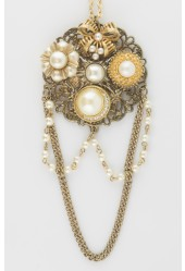 Hanging Pearls Collage Necklace