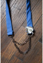 Blue Leaf Tie Necklace